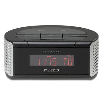 roberts dreamtime 2 clock radio with dab and dual alarm black. Black Bedroom Furniture Sets. Home Design Ideas