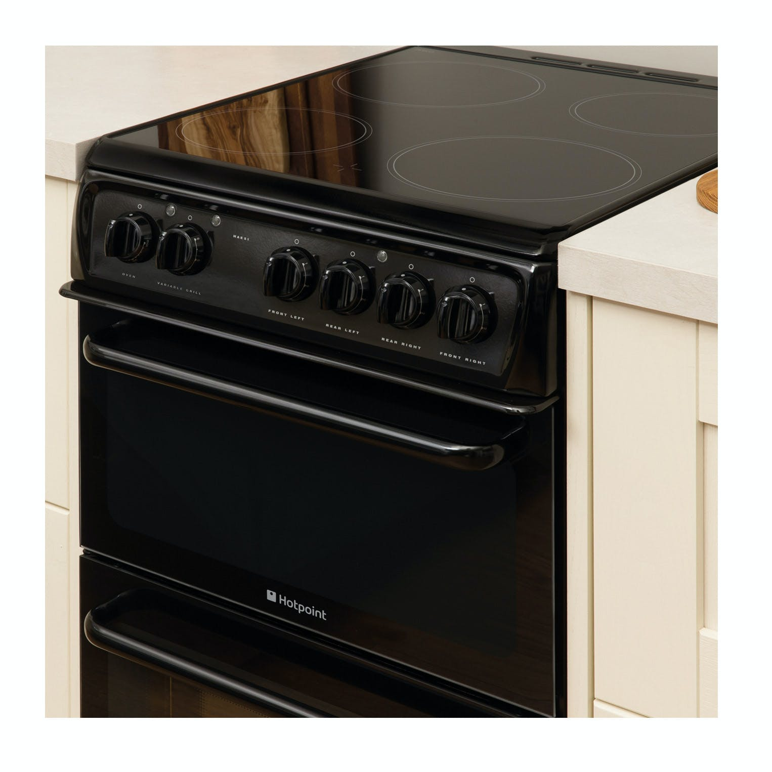 Hotpoint HAE51KS 50cm Twin Cavity Electric Cooker in Black ...