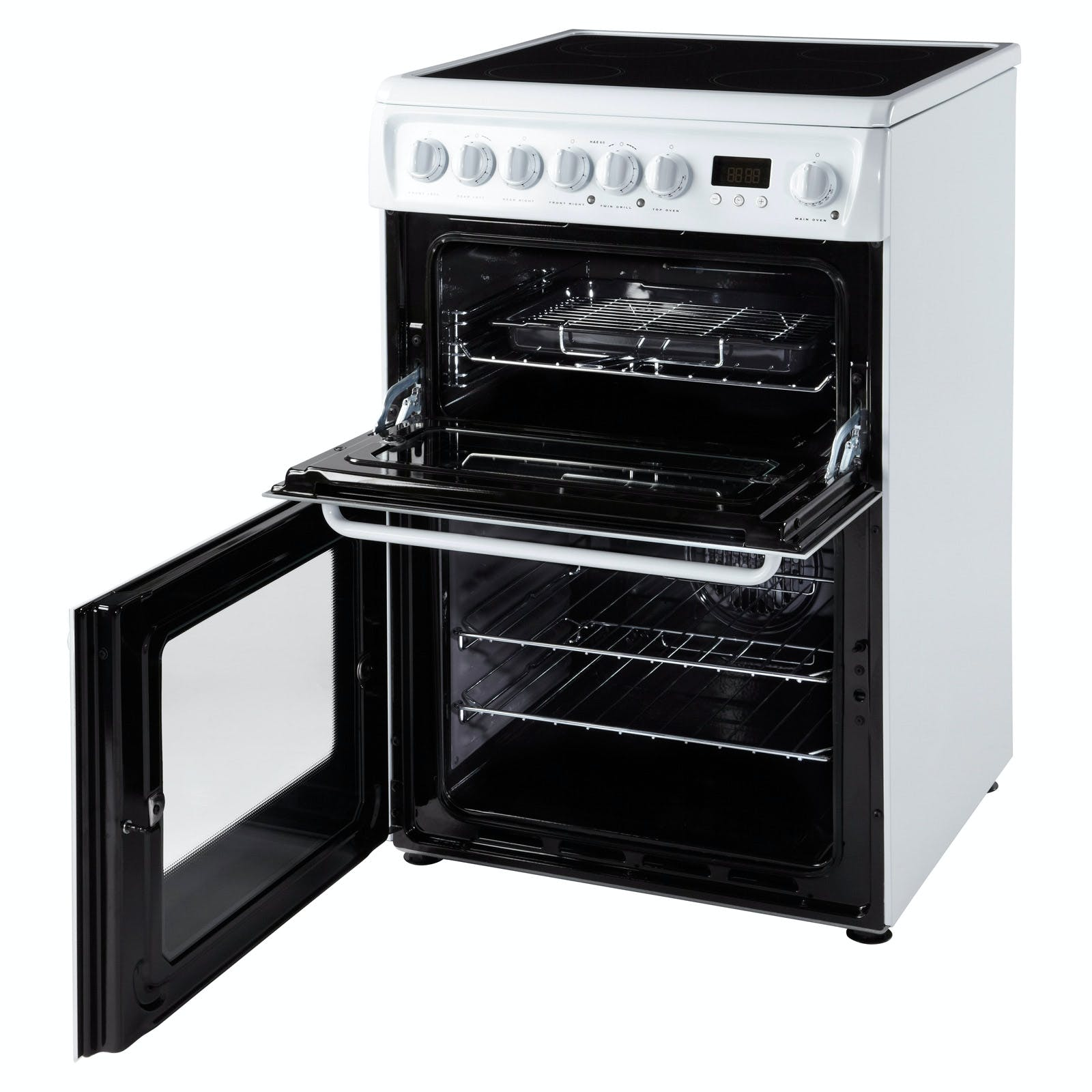Hotpoint HAE60PS 60cm Electric Cooker in White, Ceramic Hob Double ...