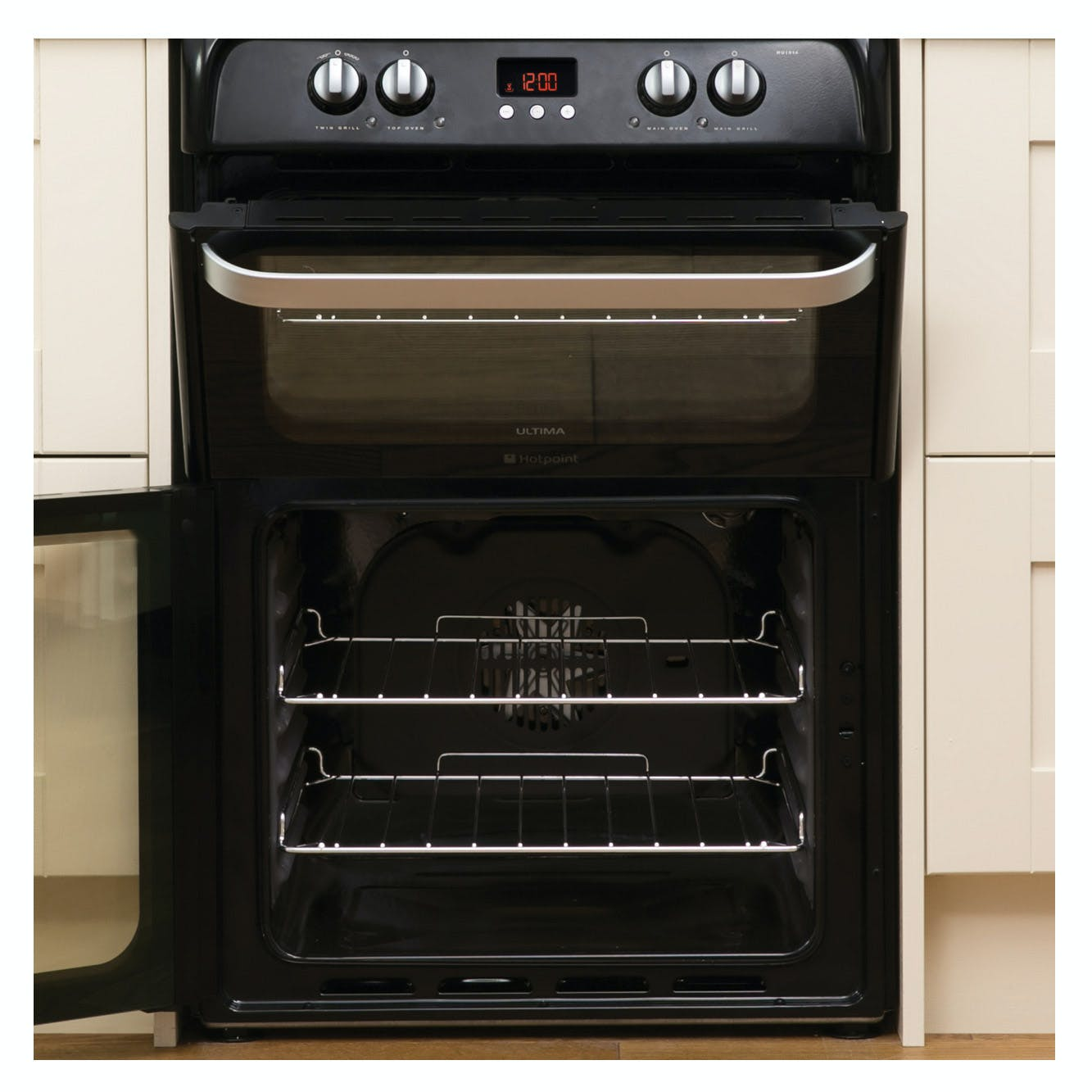 Hotpoint HUI614K 60cm Induction Electric Cooker in Black, Double Oven
