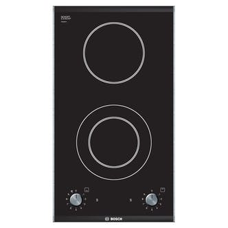 bosch pkf375v14e 30cm logixx 2 zone quick therm domino hob in black. Black Bedroom Furniture Sets. Home Design Ideas
