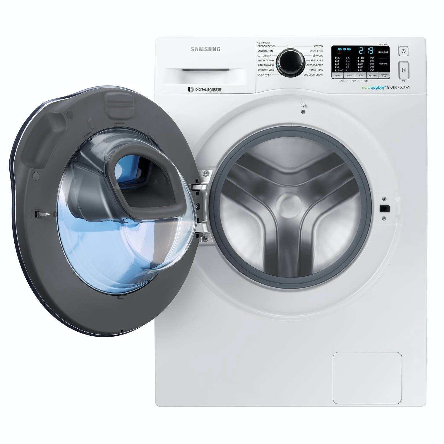 samsung wd80k5410ow addwash washer dryer in white 1400rpm 8kg 6kg a rated. Black Bedroom Furniture Sets. Home Design Ideas