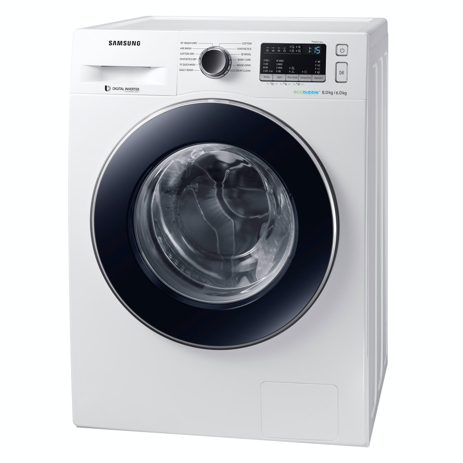Samsung wd80m4453jw eco bubble washer dryer in white - Samsung eco bubble ...