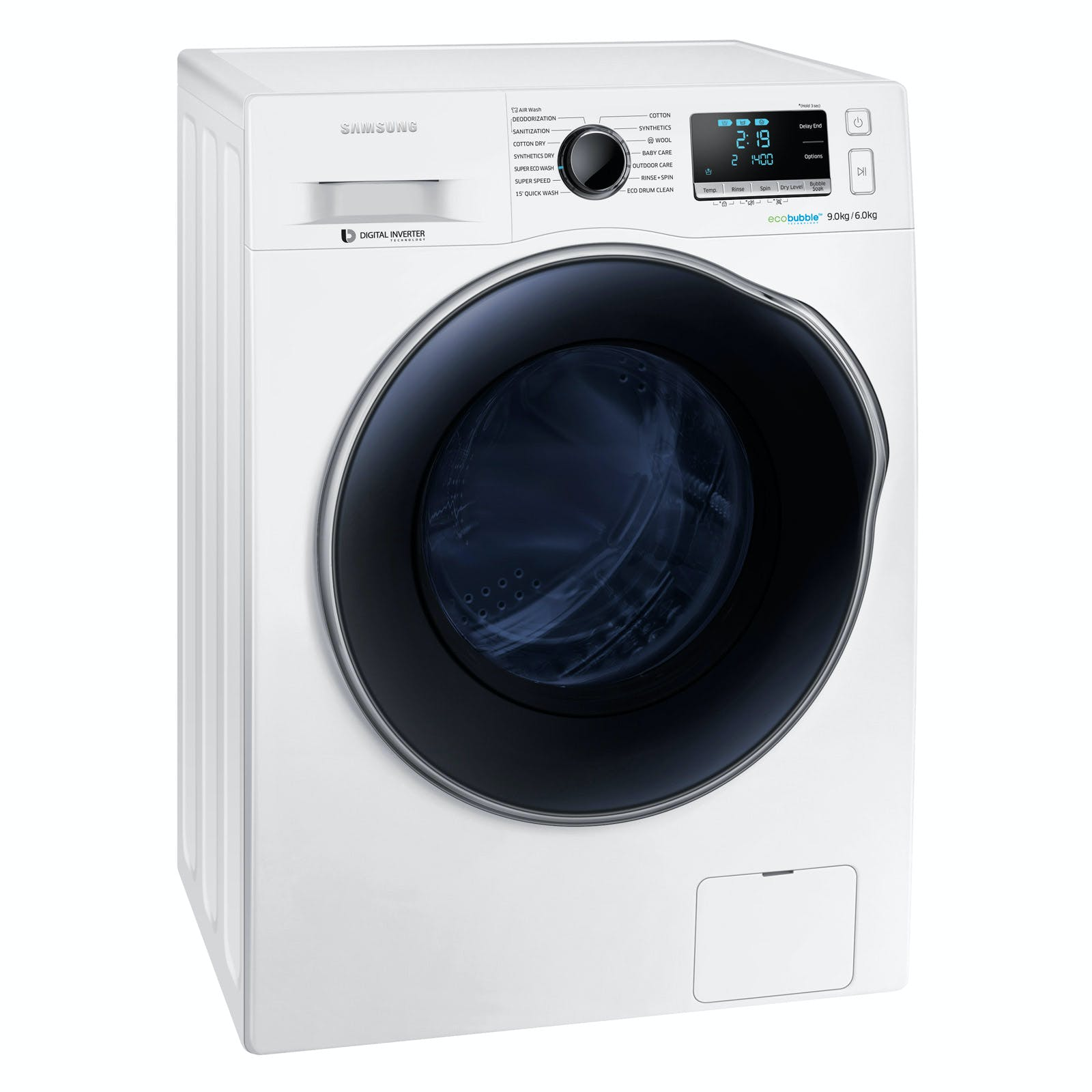 samsung wd90j6410aw eco bubble washer dryer in white 1400rpm 9kg 6kg. Black Bedroom Furniture Sets. Home Design Ideas