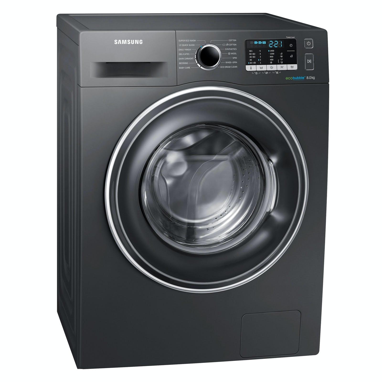 samsung ww80j5555ex eco bubble washing machine in graphite 1400rpm 8kg a. Black Bedroom Furniture Sets. Home Design Ideas