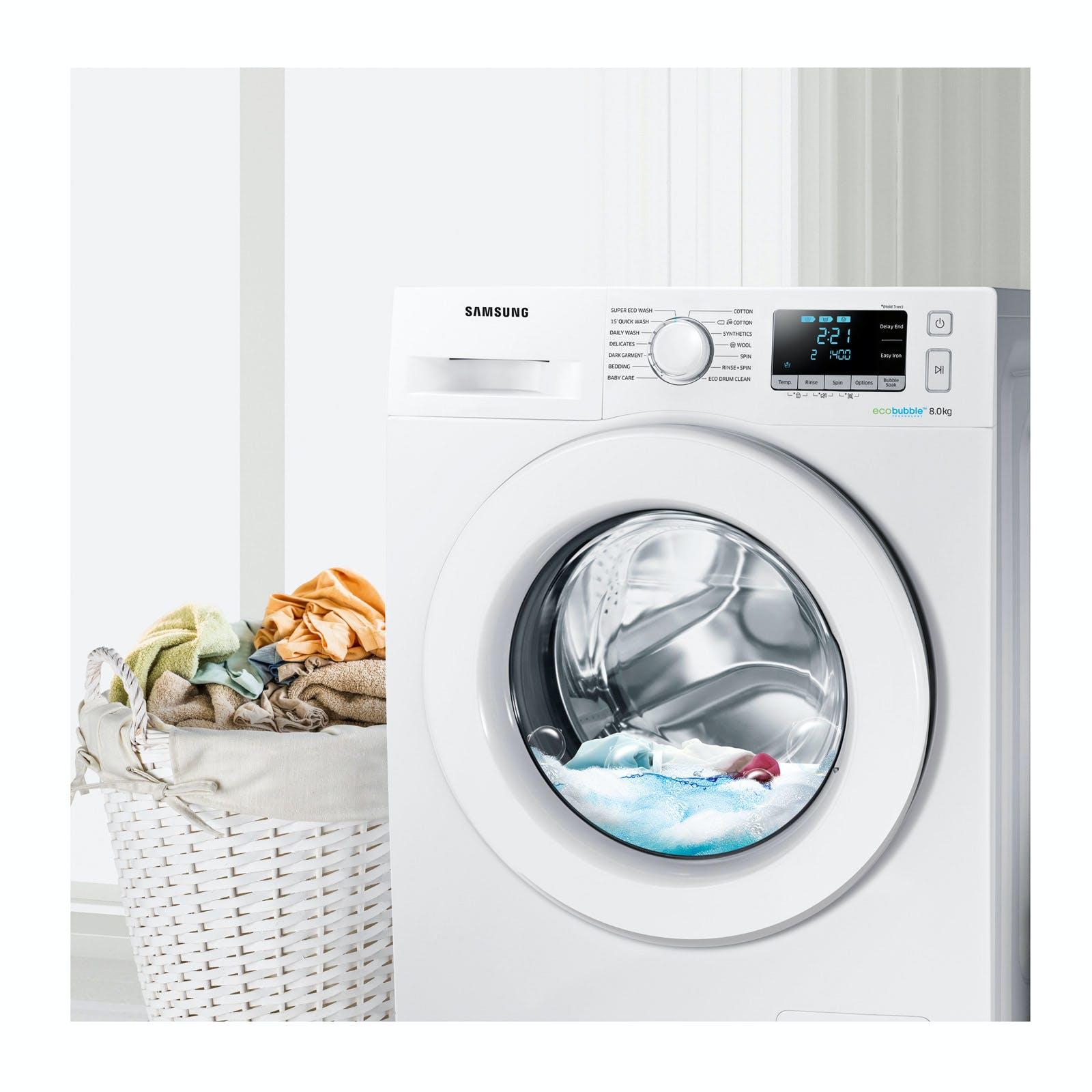 samsung ww80j5556mw eco bubble washing machine in white 1400rpm 8kg a. Black Bedroom Furniture Sets. Home Design Ideas